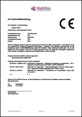 EG-Konformitätserklärung Muster